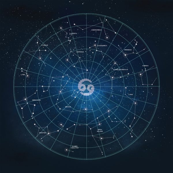 Gorgeous social media square template ads with universe themes, star, constellations.