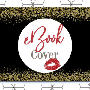 Glamorous eBook cover with red lipstick mark, sexy book cover design template