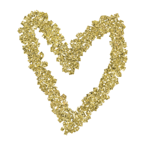 Fun and decorative gold glitter heart graphic embellishments liven up your project, use this clipart to liven up your website or brand!